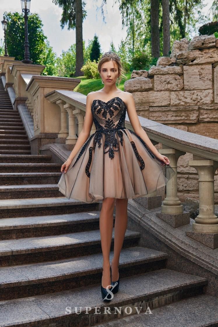 Пышное короткое вечернее платье оптом от SuperNova.-3