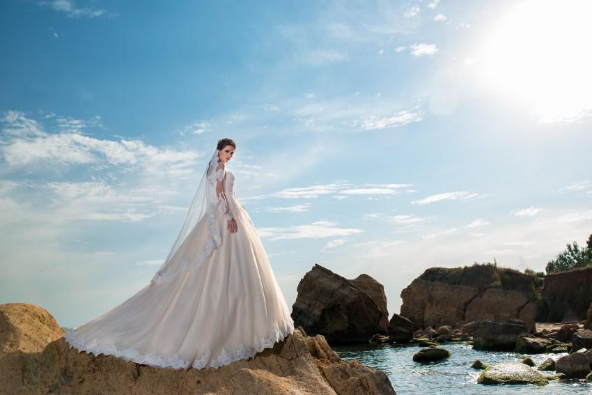 Caramel wedding dress with long sleeves-2