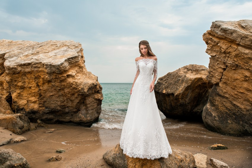 A-line silhouette wedding dress with a train-5