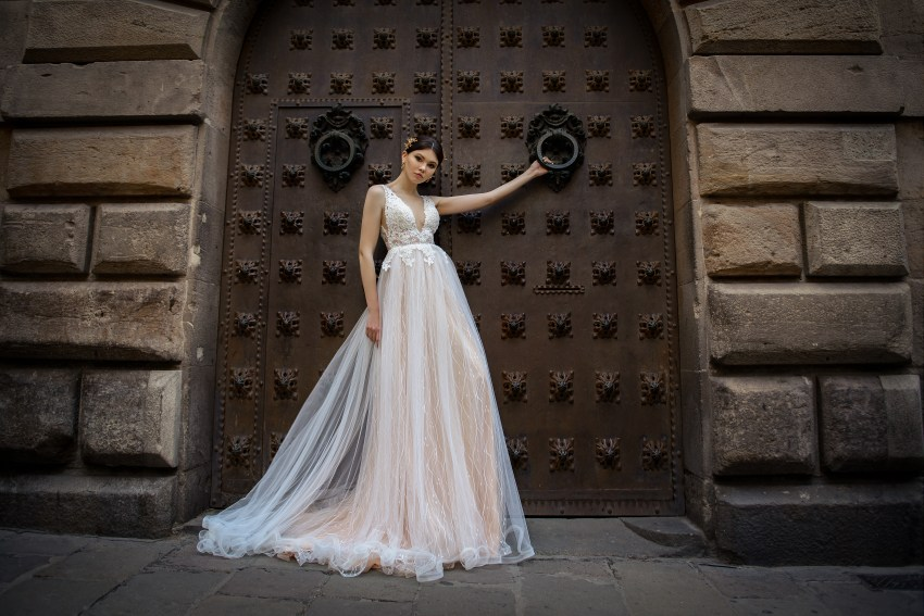 Wedding dress with a deep cut from SuperNova wholesale-4