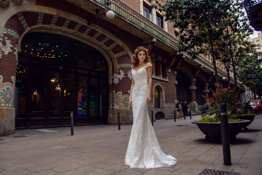 """Wedding dress """"Godet"""" of brilliance material  with an open back from SuperNova wholesale-4"""