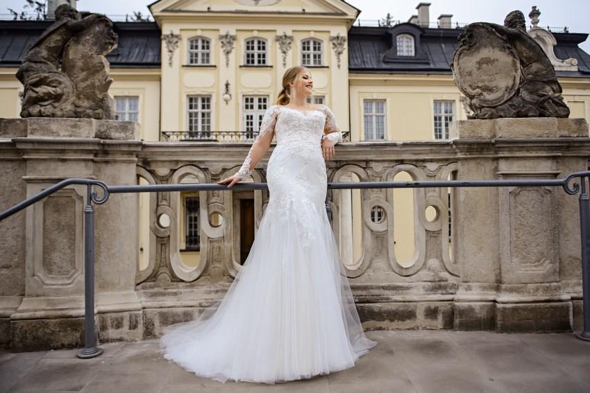 Plus size wedding dress in godet style on wholesale from SuperNova company-4