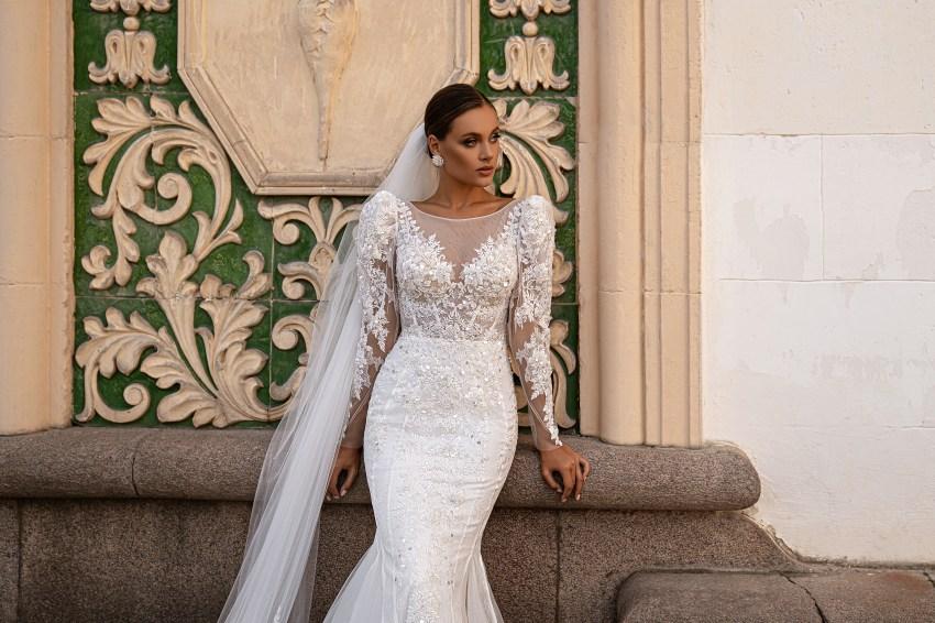 """Wedding dress """"godet"""" silhouette-6"""