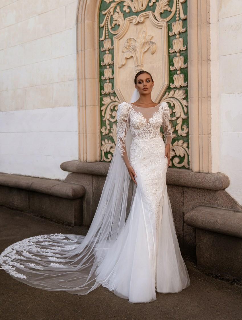 """Wedding dress """"godet"""" silhouette-7"""