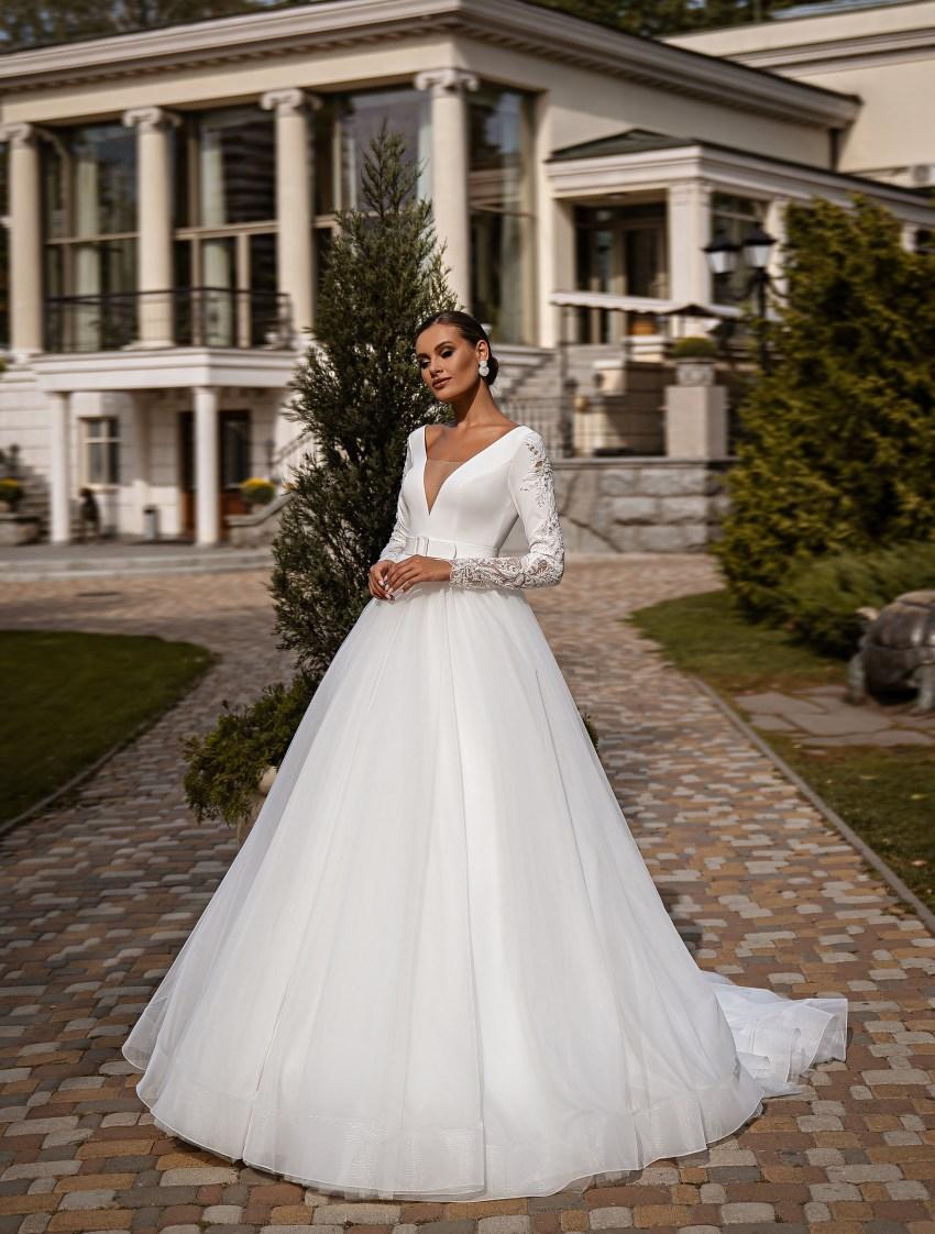 Bесільна сукня з довгими рукавами-3