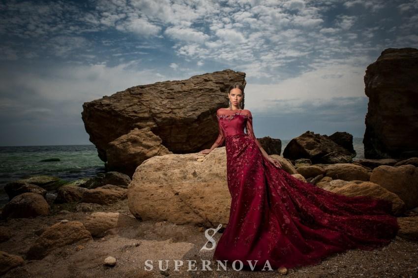 Вечернее гипюровое платье А-силуэта-5