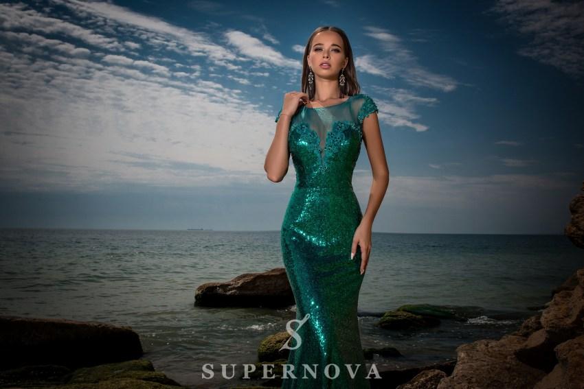 Evening dress of sequin material-5