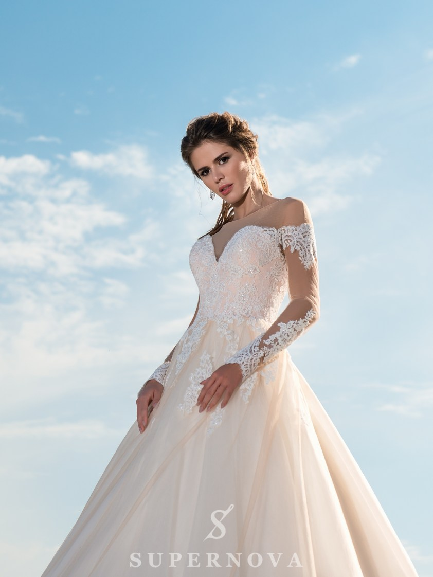 Caramel wedding dress with long sleeves-3