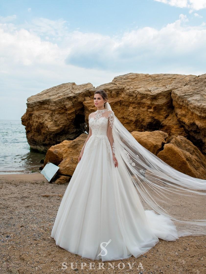 Cвадебное платье на кокетке с длинными рукавами-2