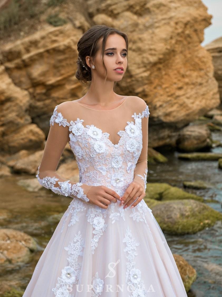 Rochie de mireasă uimitoare de o culoare caramel-2