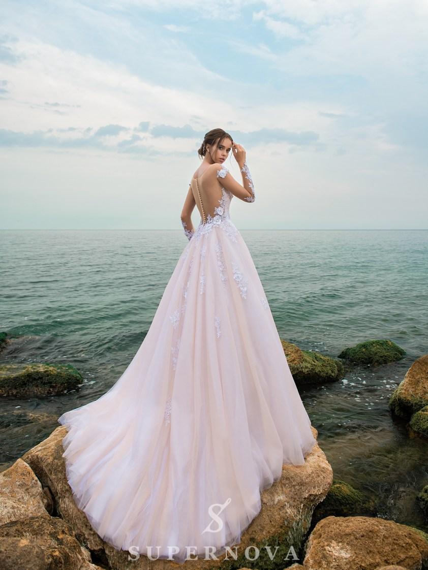 Rochie de mireasă uimitoare de o culoare caramel-3