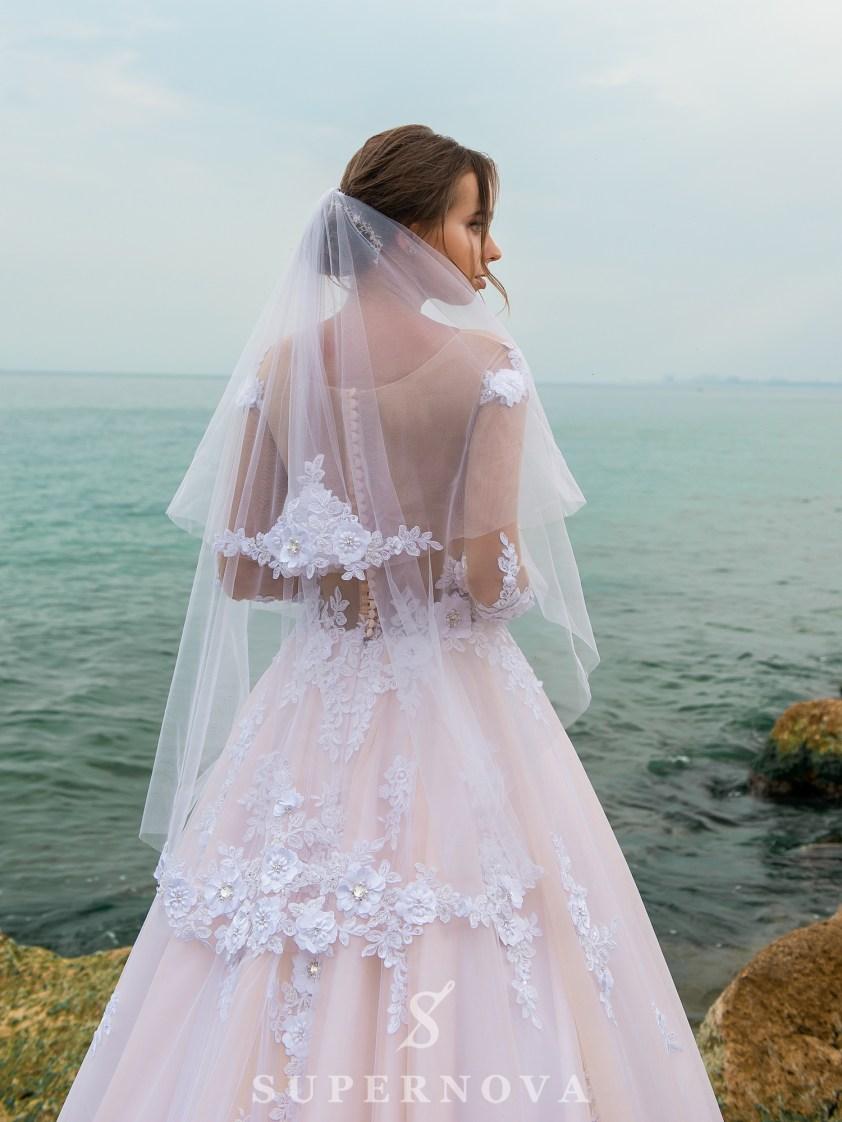 Rochie de mireasă uimitoare de o culoare caramel-4