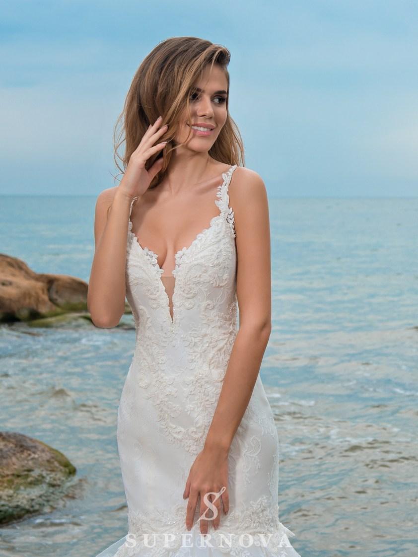 весільна сукня «рибка» на бретелях-2