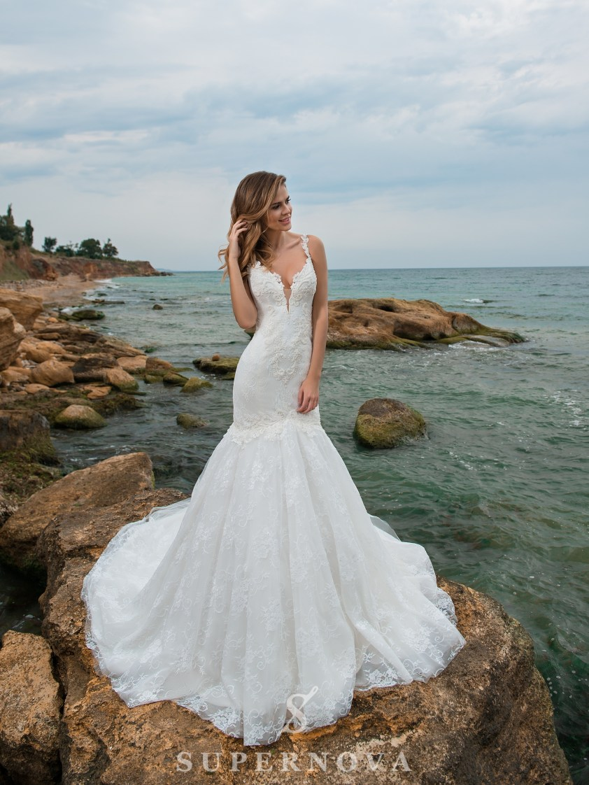 весільна сукня «рибка» на бретелях-3