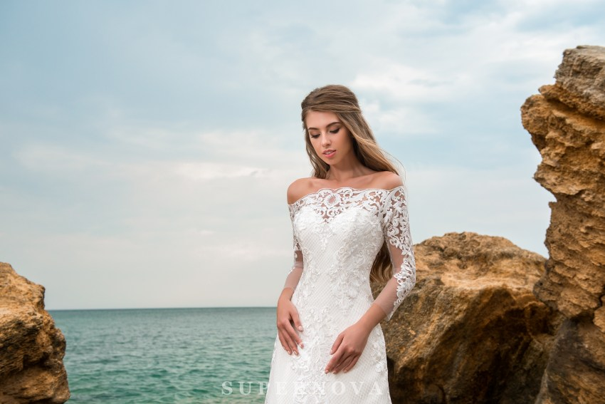 A-line silhouette wedding dress with a train-3