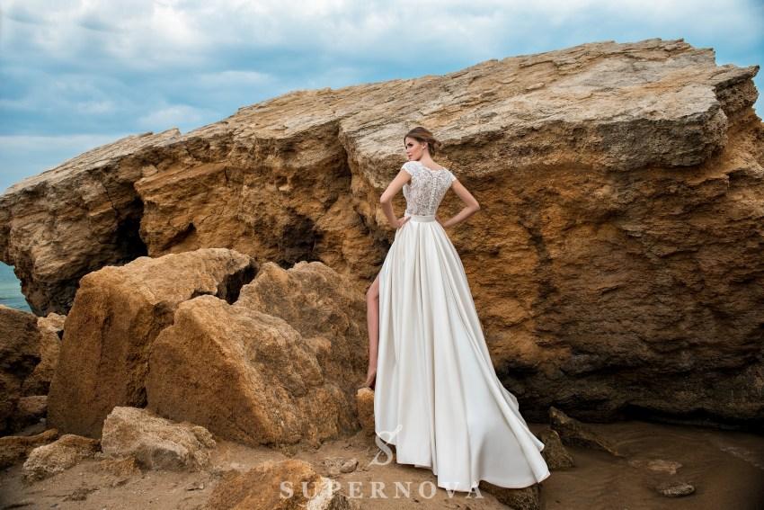 Short guipure wedding dress-1