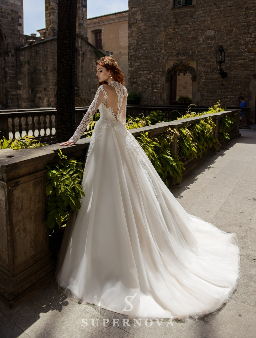 Весільна сукня з пишною спідницею на тілесній основі від SuperNova оптом-2