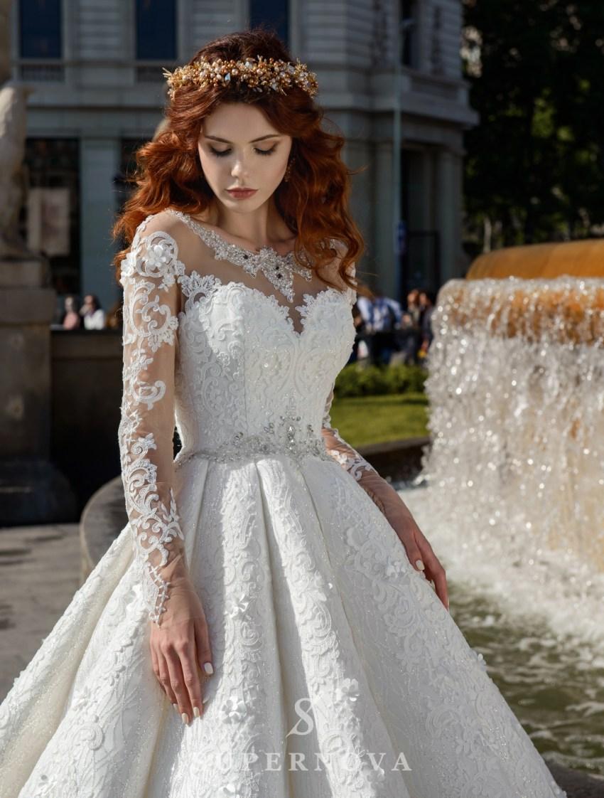 Весільна сукня з тканини-блиску від SuperNova оптом-3