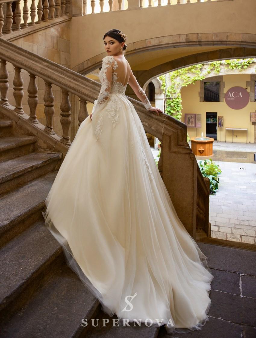 Пышное свадебное платье, расшитое цветами от SuperNova оптом-2