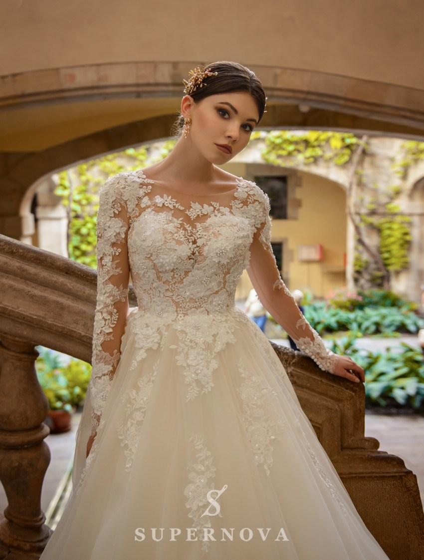 Пышное свадебное платье, расшитое цветами от SuperNova оптом-3