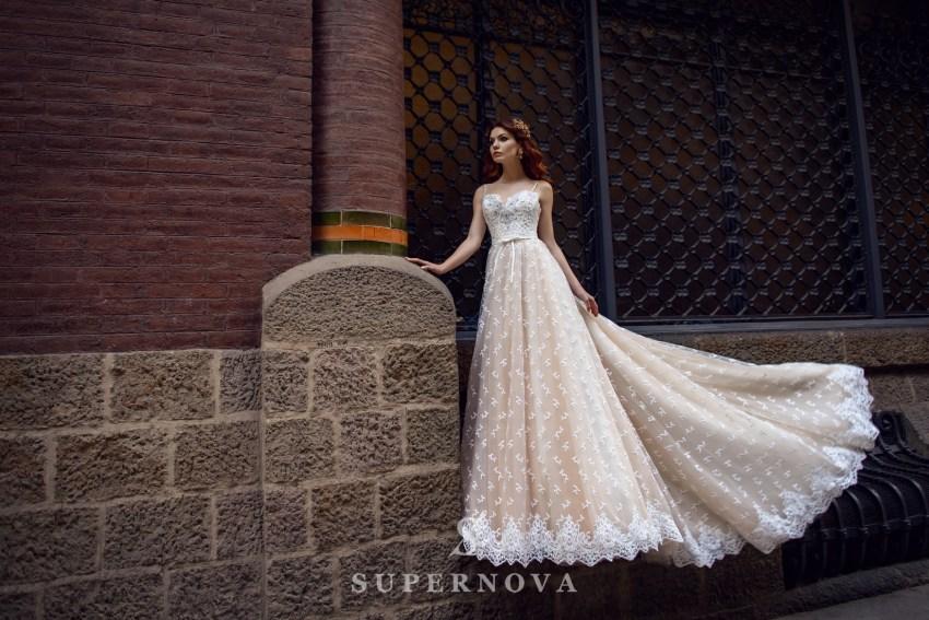 Кремовое свадебное платье от SuperNova оптом-1