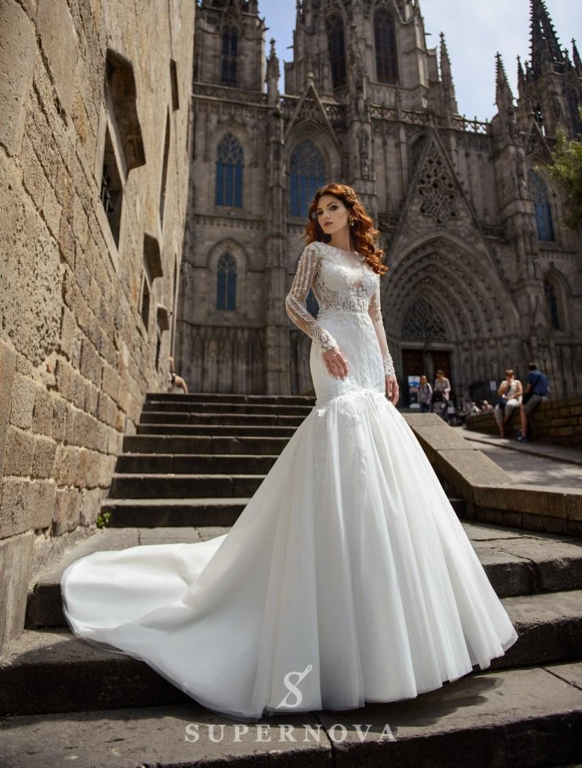 Свадебное платье силуэта «рыбка» от SuperNova оптом-3