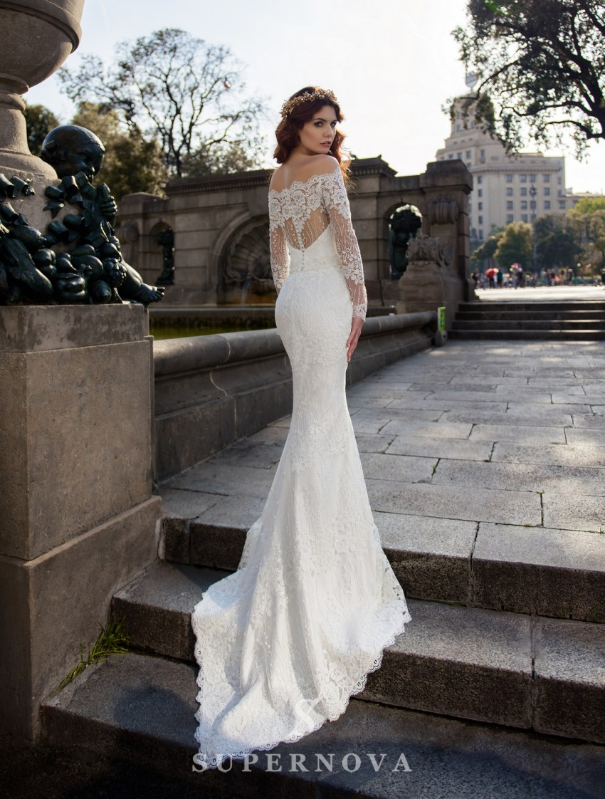Wedding guipure dress with removable train from SuperNova wholesale-3