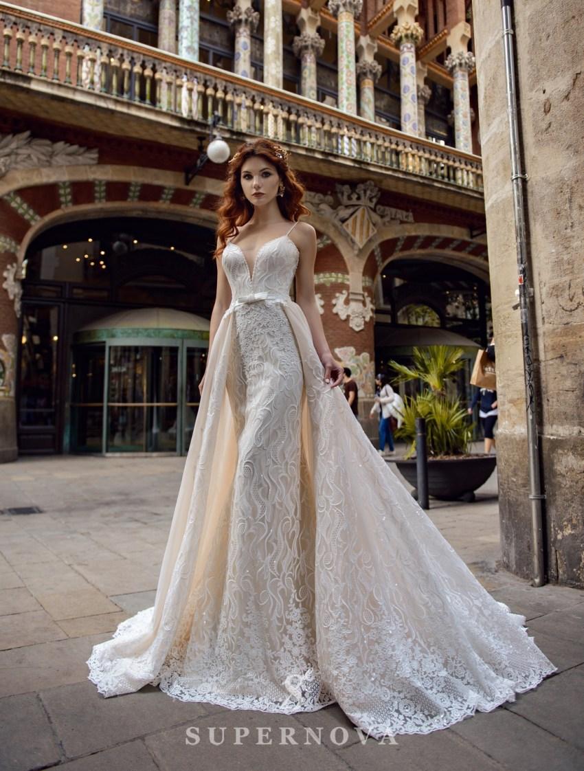 """Весільна сукня """"годе"""" зі знімним шлейфом від SuperNova оптом-3"""