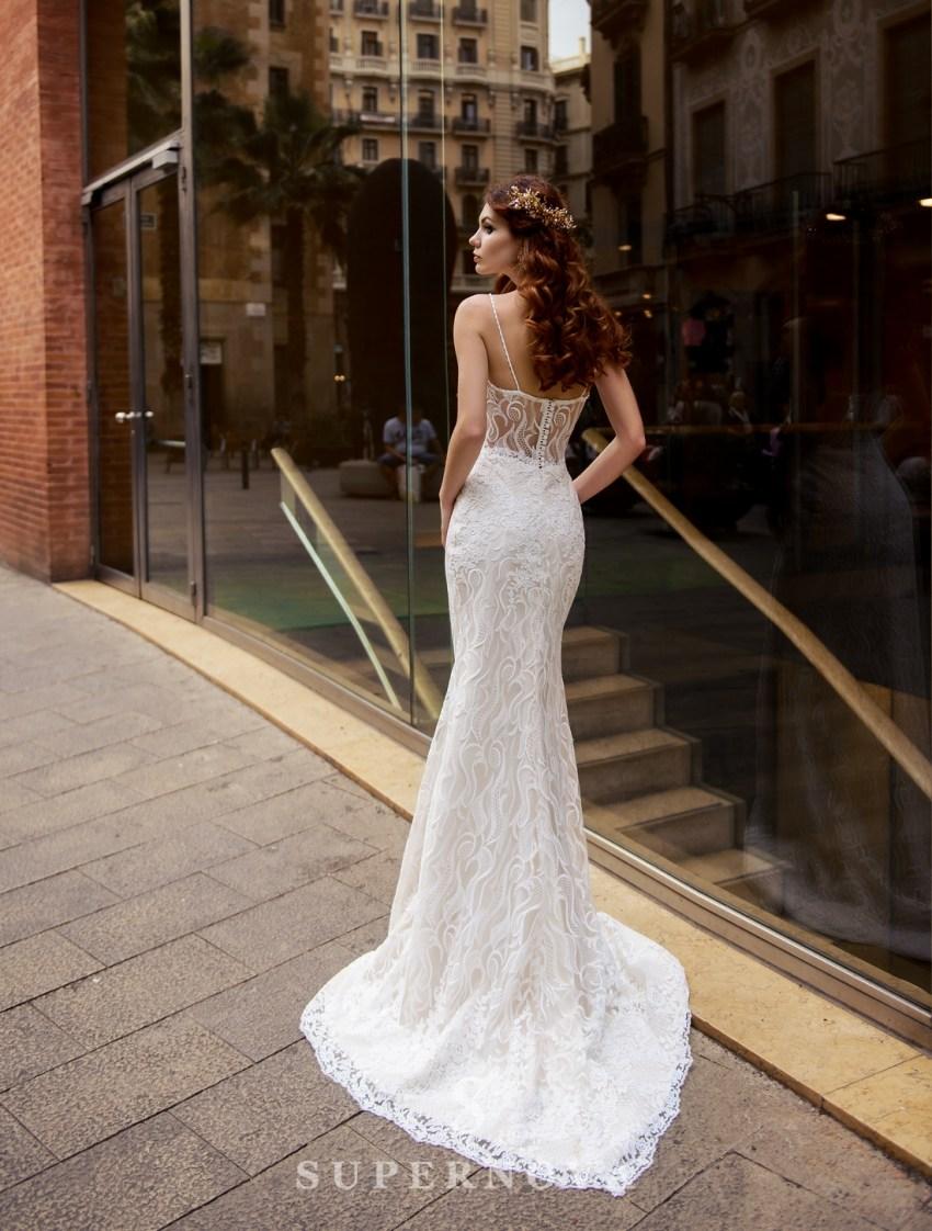 """Весільна сукня """"годе"""" зі знімним шлейфом від SuperNova оптом-4"""