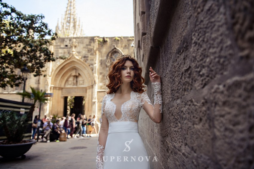 "Wedding dress ""Godet"" with long sleeves and soft skirt-train from Supernova-1"