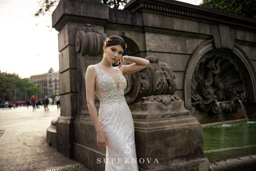 "Wedding dress ""Godet"" with straps of fabric-glitter from Supernova wholesale-1"