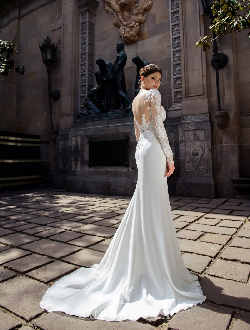 Wedding dress with appliqués and a soft train skirt from Supernova wholesale-2