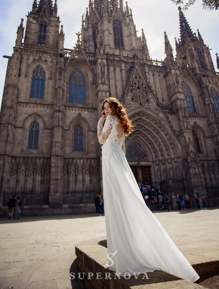 Wedding dress with short  corset and long sleeves wholesale from Supernova-3
