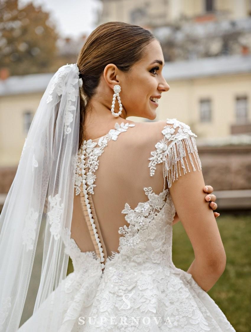 Мереживна весільна сукня з пишною спідницею оптом від SuperNova-3