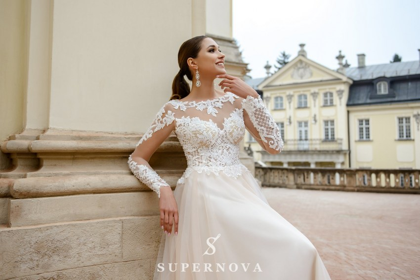 Ivory wedding dress with lace bodice and sleeves on wholesale from SuperNova SN-080-Natalie