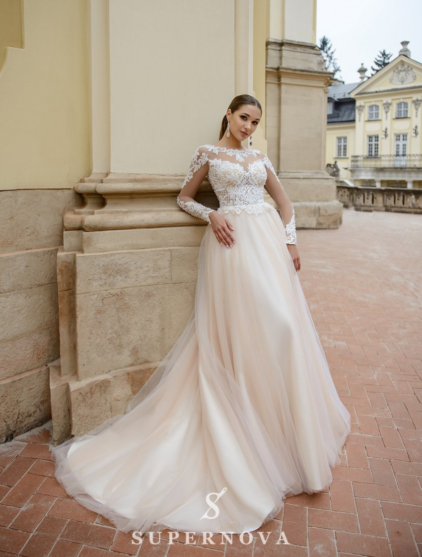 Ivory wedding dress with lace bodice and sleeves on wholesale from SuperNova-2