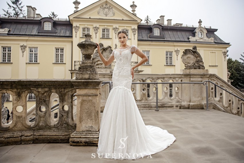 Ivory fishtail wedding dress embroidered with pearls on wholesale from SuperNova SN-082-Naida