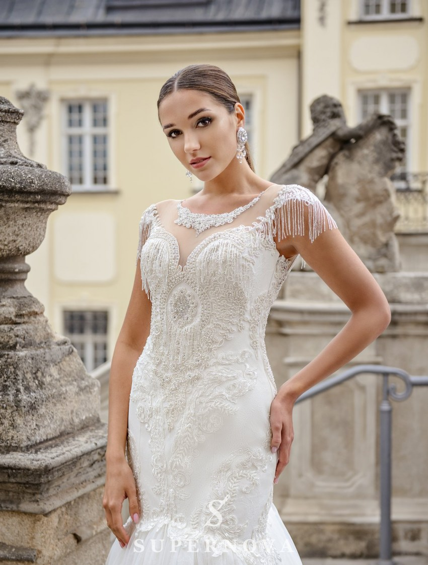 Ivory fishtail wedding dress embroidered with pearls on wholesale from SuperNova-2