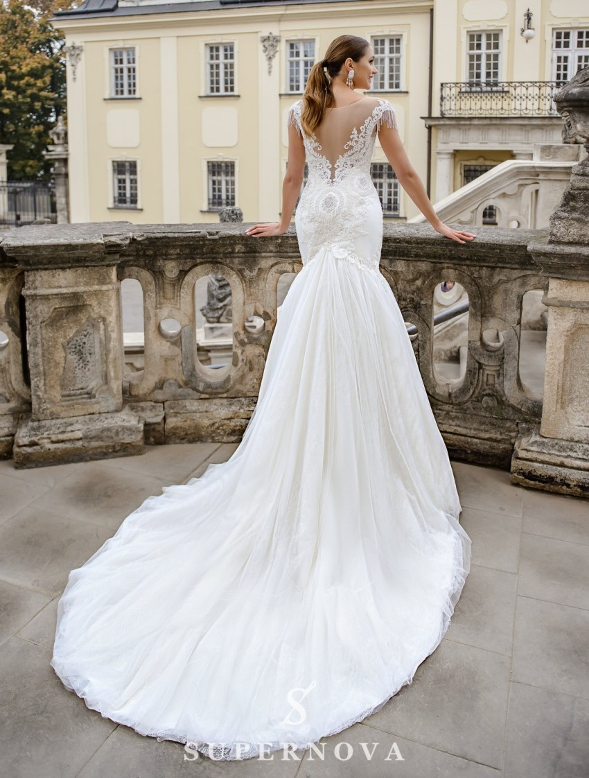 Ivory fishtail wedding dress embroidered with pearls on wholesale from SuperNova-3
