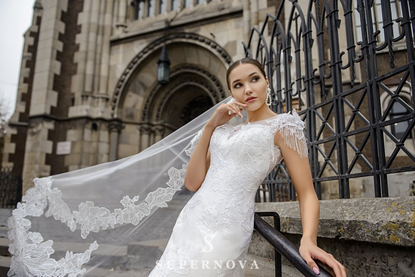 Wedding dress in godet style on a yoke on wholesale from SuperNova-1