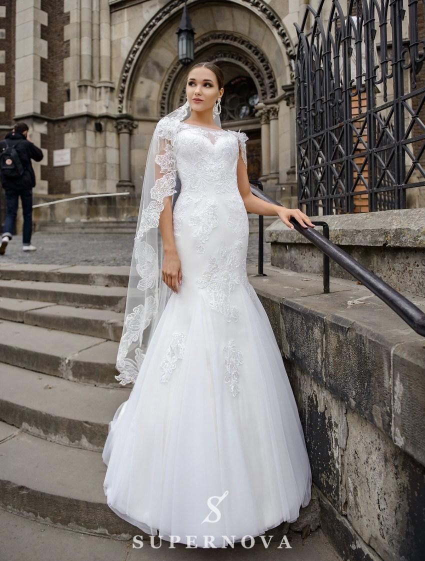 Wedding dress in godet style on a yoke on wholesale from SuperNova-2