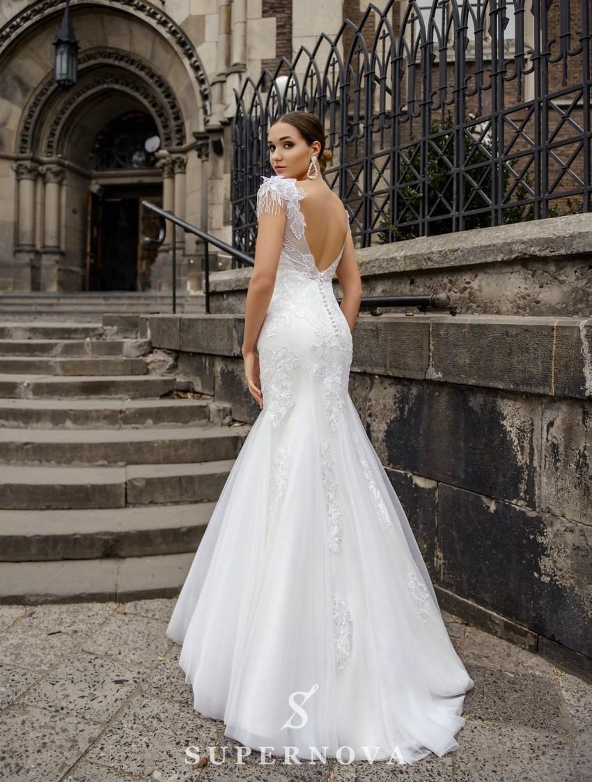 Wedding dress in godet style on a yoke on wholesale from SuperNova-4