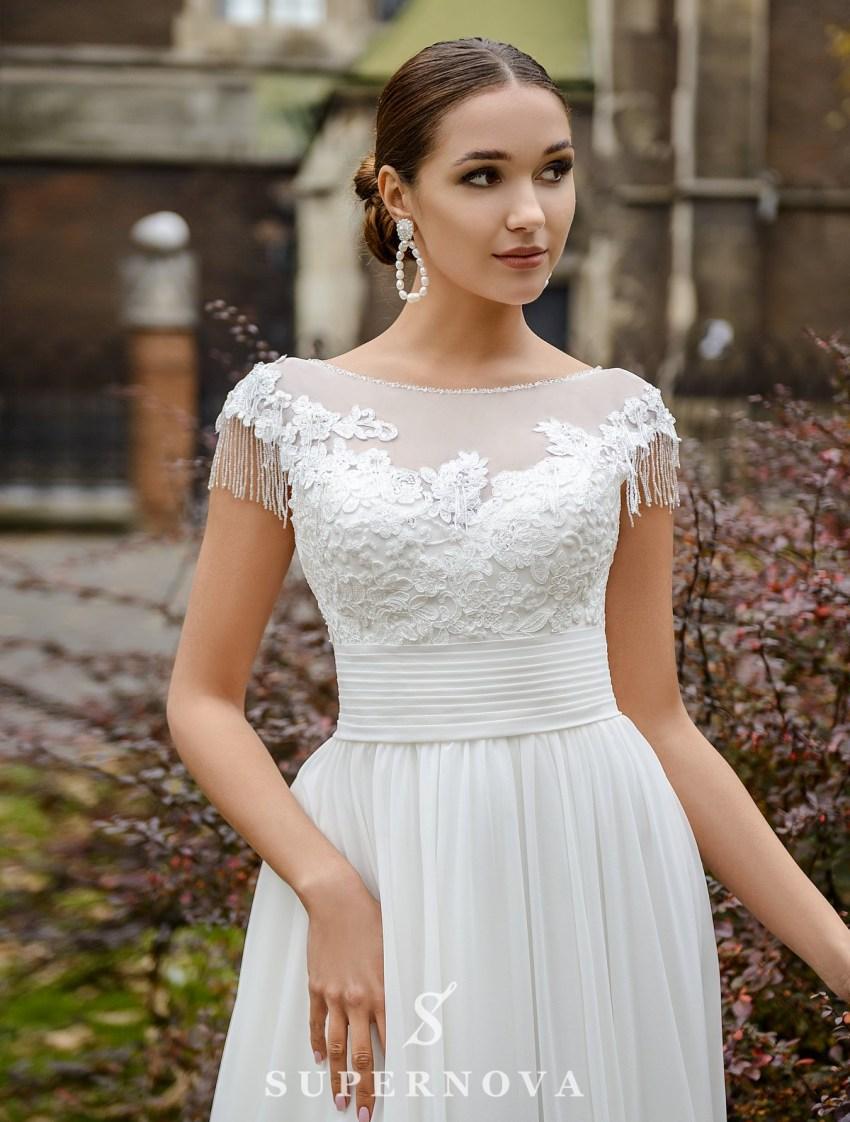 Весільна сукня з підкресленою талією і м'якою спідницею оптом від SuperNova-2