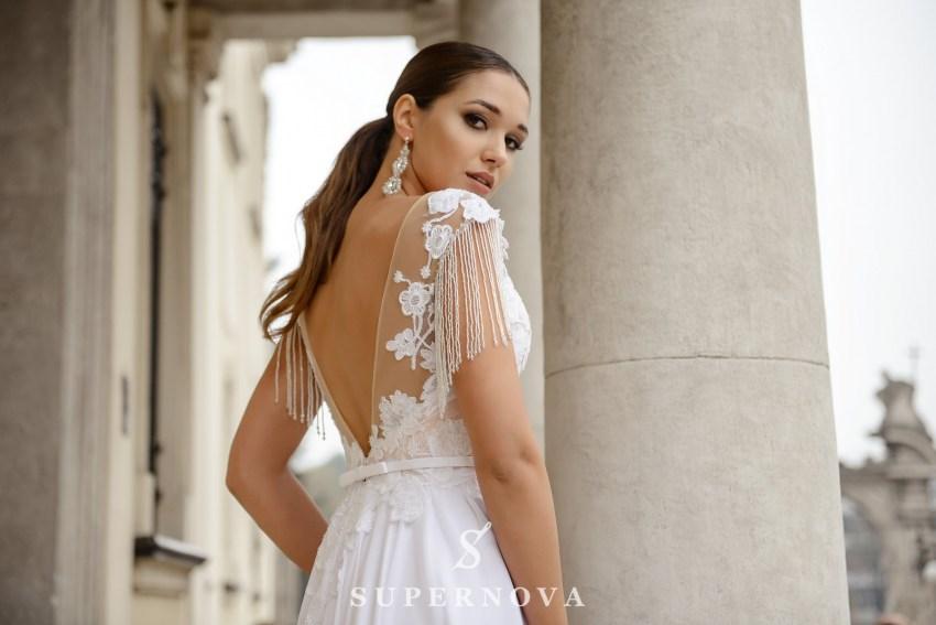 Wedding dress with a chiffon skirt on a yoke on wholesale from SuperNova-2