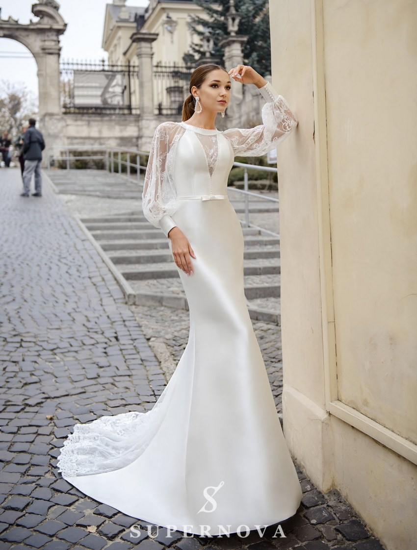 Wedding dress  in godet style with wide sleeves on wholesale from SuperNova-3