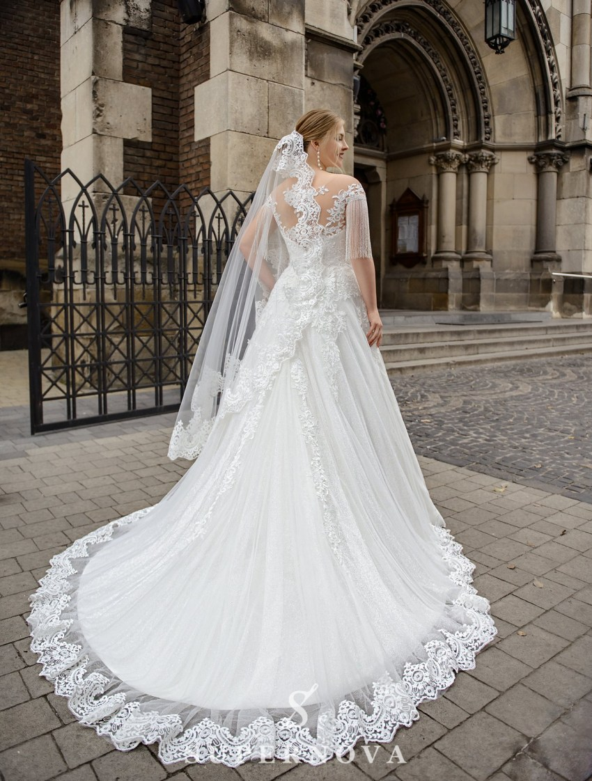 Plus size  wedding dress with fringe on the sleeves on wholesale from SuperNova-4