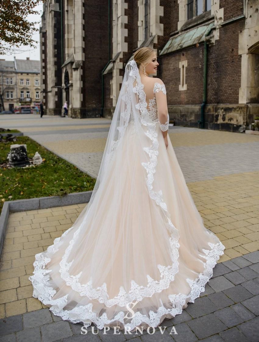 Весільна сукня з напівпрозорим корсетом великих розмірів оптом від SuperNova-3