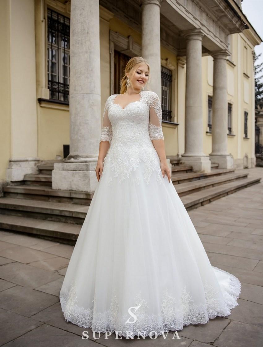 Свадебное платье с удлиненным корсетом больших размеров от производителя SuperNova-3