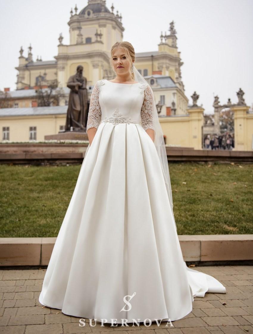 """Свадебное платье А-силуэта из ткани """"микадо"""" больших размеров оптом от SuperNova-2"""