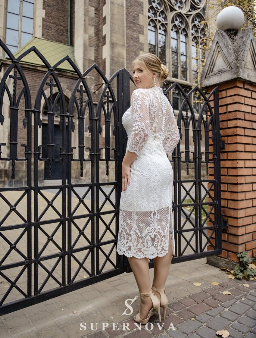 Свадебное платье со съемным шлейфом plus size от SuperNova оптом-4